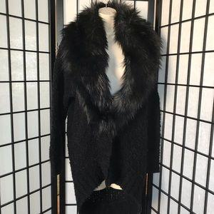 Guess Black Faux Fur Open Black Sweater